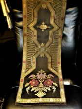 SUPERB EMBROIDERED BROCADE RUNNER BLACK GOLD RED TEAL WITH CERISE VELVET BACK